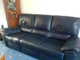 3 piece Navy Leather Suite