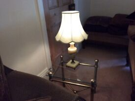 Onyx and brass table lamp