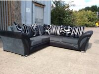 Grey & Black Fabric Corner Sofa with Leatherette Arms - £399 Including Free Local Delivery