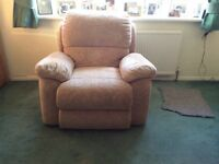 Two Seater Sofa and Armchair with manual leg recliners in very good condition
