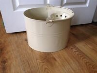 Vintage Traditional style Lily and Brown Mop Bucket 16 litre - Cream enamel - clean - bargain!