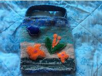Lovely hand knitted colourful bag