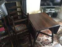 Ercol drop leaf dining table with 4 ercol matching chairs