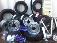 Trailer wheels tyres hubs trailer spares Ifor Williams nugent Dale kane