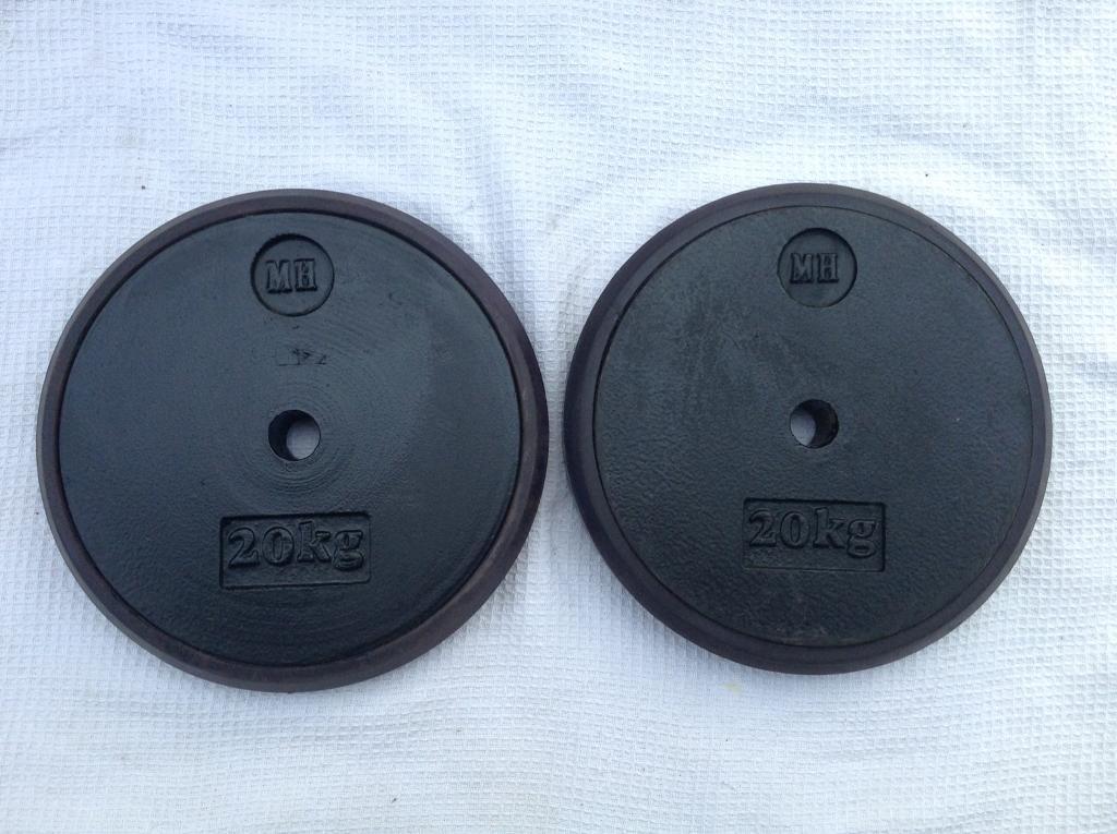 2 x 20kg Men's Health Rubber Encased Standard Cast Iron Weights