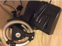 (Silver/Black) Steering Wheel & Peddles & GAMES for PS2 / Playstation 2