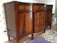 Mahogany style sideboard bow fronted