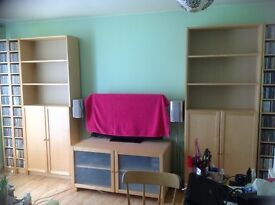 £480 WORTH OF IKEA BILLY BIRCH VENEER SHELVING/BOOKCASES/TV/STEREO UNIT