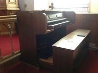 Church organ with pedals and stops - electric with bench