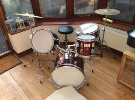 Drum kit junior size premier drubs make with sticks