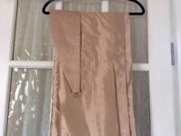 Gold faux silk lined curtains
