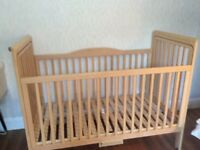 Strong wooden COTBED for Sale. Suitable from birth to 4/5 years.