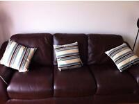 Violino Italian Brown Leather 3 Seater Sofa