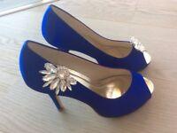 Cobalt blue satin heels (bridal)
