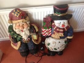 Optic fibre Father Christmas and Snowman