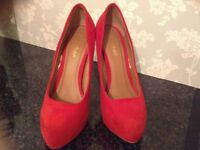 Red suede Miss Selfridge shoes