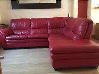 stunning red leather corner suite