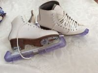 Ice skates will fit size 4,blade 9 2/3. Used condition