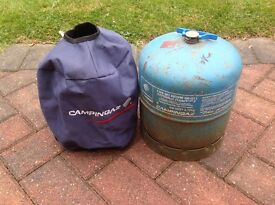 Empty Campingaz 907 cylinder ~ ready for refil. With handle & cover