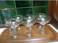 6 Babycham glasses in sparkling condition