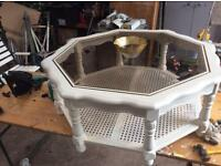 White glass top coffee table