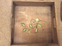 Shabby chic - wooden trays with hand painted design.