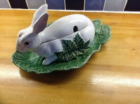 Rabbit shaped tureen with cabbage type serving plate- bought in Portugal