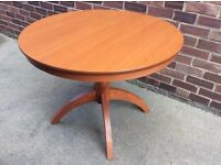 Modern Teak Circular Extendable Dining Table and Four Chairs (Free Local Delivery)