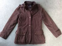 Ladies Barbour-style dark brown fitted outdoor jacket by Karrimor, size 8 - 10