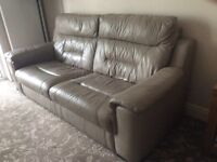 Leather 3seater settee electric recliner chair and storage box/ footstool