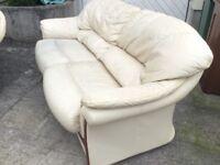 Cream leather 3 piece sofa