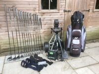 Full Set of Used Yonex Golf Clubs, Iron & 4 Woods, includes Electric Trolley