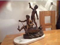 Italian Metal figurine - boys on fishing boat