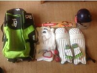 Junior cricket complete set, helmet, pads, gloves, Grey Nicholls bat, bag, box, whites