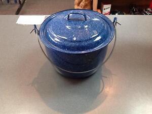 Blue Enamel Camping Pot w/Lid