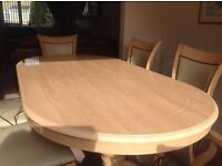 Beautiful Italian Dining Table and six cream leather chairs, few little minimal marks