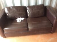 Brown two seater sofa, fake leather
