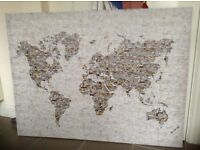 Large World map canvas art stretched on wooden frame 120cm X. 90cm