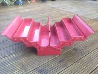 Toolbox - metal 5 tray cantilever toolbox - red. Heavy duty.
