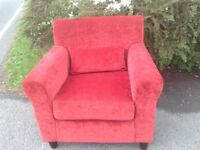 Red velour armchair is excellent condition. In spare room so hardly used.