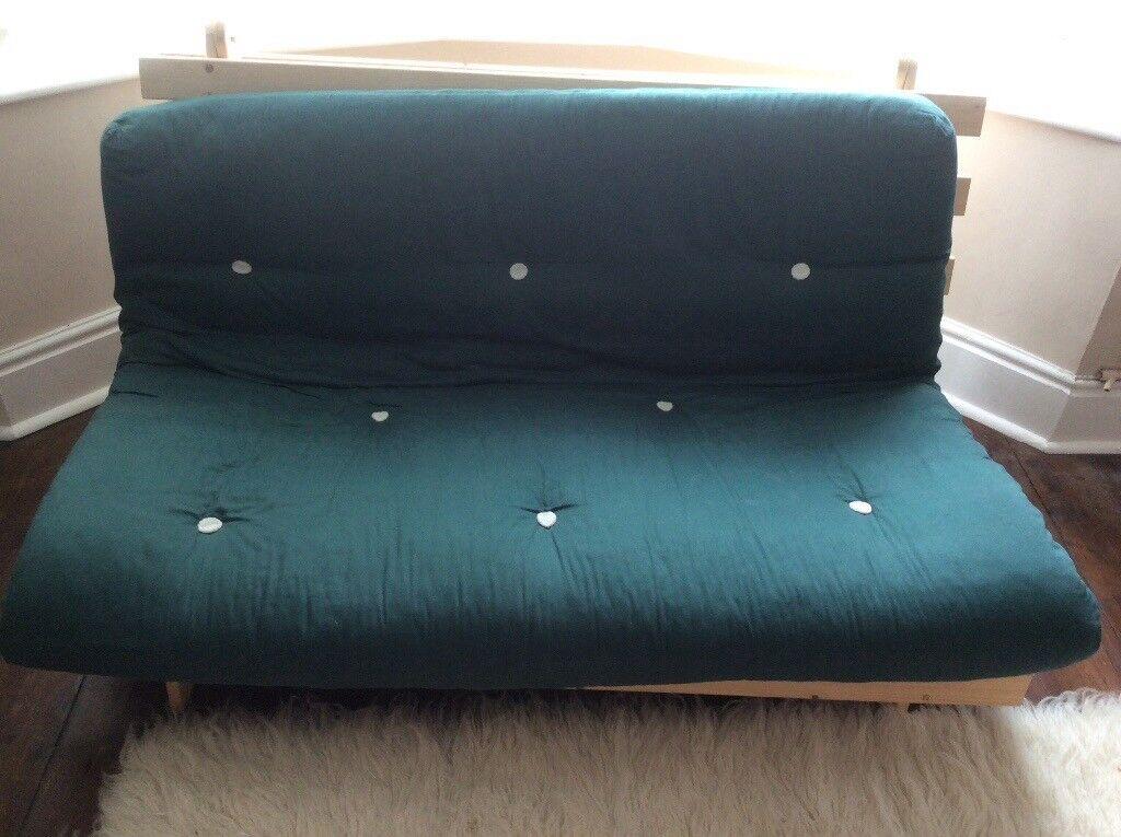 Pine Futon With Dark Green Mattress Nearly New In Swansea Gumtree