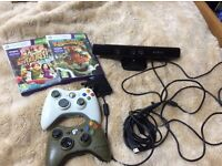 XBOX 360 KINECT WITH TWO GAMES TWO CONTROLLERS