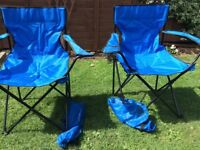 2 x Outdoor folding Camping Chairs, c/w Carry Bags - BARGAIN