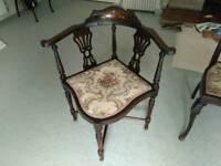 Mahogany reproduction corner chair