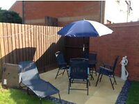 4 seater garden furniture and 2 Sun loungers