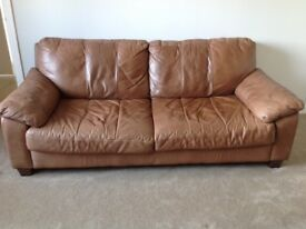 3 seater brown leather sofa- good condition except a few scratches