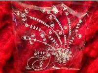 XLarge crystal, diamanté bridal, party hair piece comb