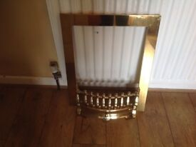 Brass fire surround and front