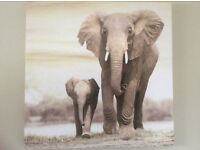 Canvas picture neutral colours Mother and Baby Elephant /safari/jungle theme