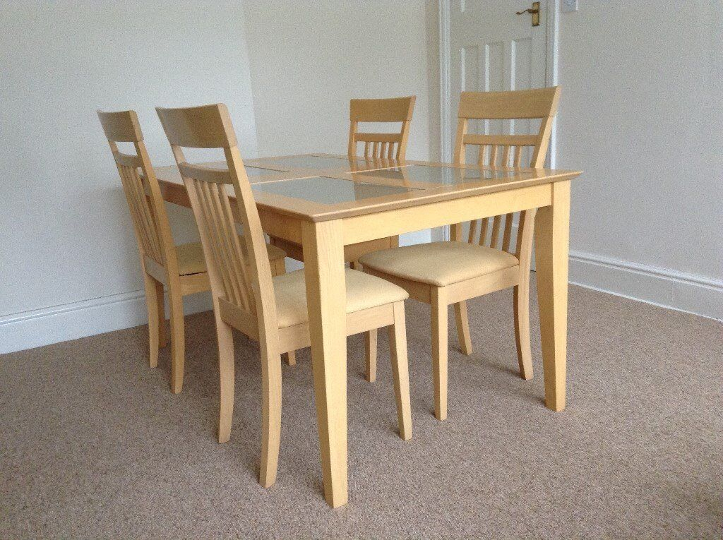 Wooden Dining Table With Glass Inserts And 4 Chairs With